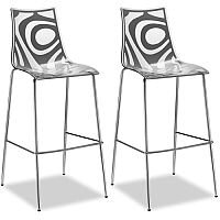 Wave Bar Stool With H800mm Chrome Base Translucent & Anthracite Set of 2