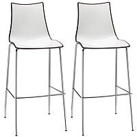 Zebra Bicolore Bar Stool With H800mm Chrome Base White/Anthracite Set of 2