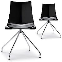 Zebra Antishock Canteen & Breakout Chrome Trestle Base Chair Glossy Black Set of 2