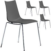 Zebra Technopolymer Chrome Leg Canteen & Breakout Stacking Chair Anthracite Set of 4