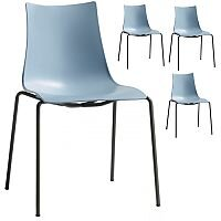 Zebra Technopolymer Outdoor Stacking Chair with Anthracite Coated Leg Set of 4 Light Blue