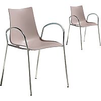 Zebra Technopolymer Canteen & Breakout Chrome Leg Chair with Arms Set of 2 Dove Grey