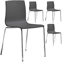 Alice Fire Retardant Chrome Leg Canteen & Breakout Stacking Chair Set of 4 Anthracite