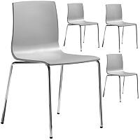 Alice Fire Retardant Chrome Leg Canteen U0026 Breakout Stacking Chair Set Of 4  Light Grey