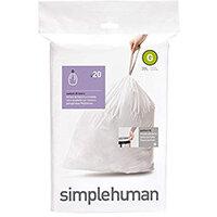 Simplehuman Custom Fit Bin Liners Code G 30L, Pack of 20 CW0166