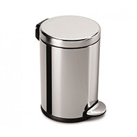Simplehuman Round Steel Bin 4.5L Pedal Operated Polished Stainless Steel CW1851CB - Fits Well in Bathrooms or Wherever Space is Limited