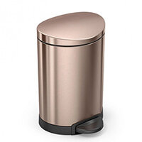 Simplehuman Semi-Round Steel Bin 6L Pedal Operated Rose Gold Steel CW2057 - Fits Well in Bathrooms or Wherever Space is Limited
