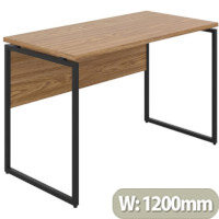 Soho Milton Home Office Desk W1200mm Oak Desktop & Black Metal Frame