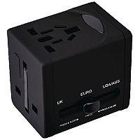 Snopake VariPlug Universal Travel Adapter USB Output Black