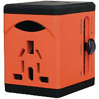 Snopake VariPlug Universal Travel Adapter USB Output Orange