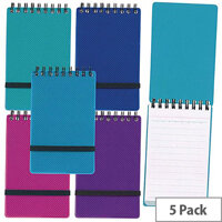 Snopake Noteguard Head Bound Notebook A6 Assorted 150 Pages Ruled Feint 5 Pack