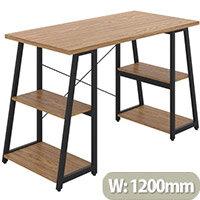 Soho Odell Home Office Desk Oak Desktop & Black Metal Frame W1200xD600xH770mm