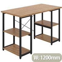 Soho Eaton Home Office Desk W1200mm Oak Desktop & Black Metal Frame