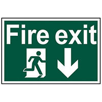 Spectrum Industrial Fire Exit RM Arrow Down S/A PVC Sign 300x200mm 1503