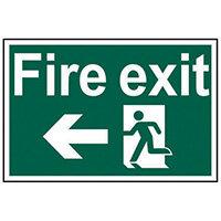 Spectrum Industrial Fire Exit RM Arrow Left S/A PVC Sign 300x200mm 1506