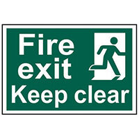 Spectrum Industrial Fire Exit RM Keep Clear S/A PVC Sign 300x200mm 1513