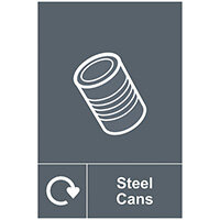 Spectrum Industrial Recycle Sign Steel Cans 150x200mm SAV 18116