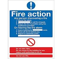 Safety Sign Fire Action Words A4 SA