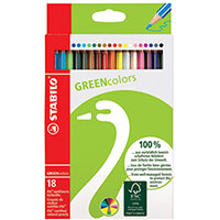 Stabilo Green Colours Colouring Pencils Pack of 18 6019/2-181