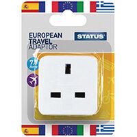 Status European Travel Adaptor Plug Pack of 12 SEUROAB112