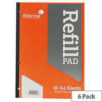 Silvine Refill Pad A4 Punched 4-Hole 80 Leaf Ruled Feint and Margin Side Bound Pack of 6