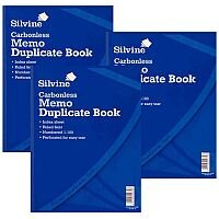 Silvine Blue A4 Carbonless Duplicate Memo Book Pack of 3