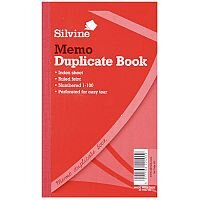 "Silvine Red Duplicate 8.25x5"" Memo Book Pack of 6"