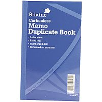 Silvine Blue Carbonless Duplicate Memo Book Pack of 6 701-T