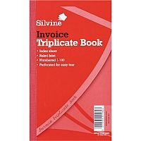 "Silvine Red 8x5"" Triplicate Invoice Book Pack of 6"