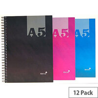 Silvine A5 Casebound Twin Wire Notebook Assorted THBA5AC Pack of 12