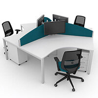 Switch 120 Degree 3 Person Bench Desk With Privacy Screens, Matching Under-Desk Pedestals & Chairs W1200mm