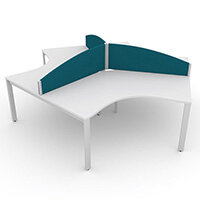 Switch 120 Degree 3 Person Bench Desk With Privacy Screens W1200mm