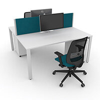 Switch 2 Person Bench Desk With Privacy Screens, Matching Under-Desk Pedestals & Chairs W 1800mm x D 2x800mm