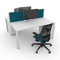 Switch 2 Person Bench Desk With Privacy Screens, Matching Under-Desk Pedestals & Chairs W 2000mm x D 2x600mm