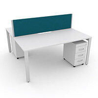 Switch 2 Person Bench Desk With Privacy Screen & Matching Under-Desk Pedestals W 1000mm x D 2x600mm