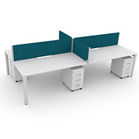 Switch 4 Person Bench Desk With Privacy Screens & Matching Under-Desk Pedestals W 2x1800mm x D 2x800mm