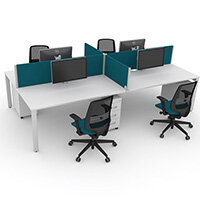 Switch 4 Person Bench Desk With Privacy Screens, Matching Under-Desk Pedestals & Chairs W 2x1600mm x D 2x600mm