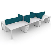 Switch 6 Person Bench Desk With Privacy Screens & Matching Under-Desk Pedestals W 3x1600mm x D 2x700mm