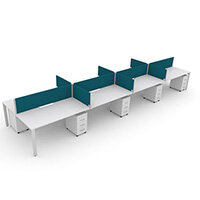 Switch 8 Person Bench Desk With Privacy Screens & Matching Under-Desk Pedestals  W 4x 1600mm x D 2x600mm
