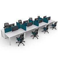 Switch 8 Person Bench Desk With Privacy Screens, Matching Under-Desk Pedestals & Chairs W 4x 1600mm x D 2x700mm