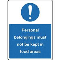 Sign Personal Belongings 150X200 Rigid Plastic Personal Belongings Must Not Be Kept In Food Areas