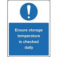 Sign Ensure Storage Temp 300x100 Rigid Plastic