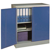 Office Cupboard 984mm Highx915mm Wide Light Grey Body & Blue Doors