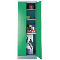 Office Cupboard 1820mm Highx615mm Wide Light Grey Body & Green Doors