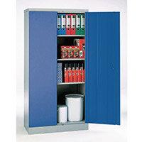Office Cupboard 1820mm Highx915mm Wide Light Grey Body & Blue Doors