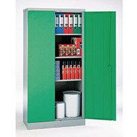 Office Cupboard 1820mm Highx915mm Wide Light Grey Body & Green Doors