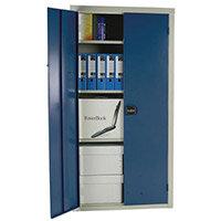Cupboard Double Door C/W 3 Shelves Dark Blue Doors HxWxD mm: 1800x1200x460
