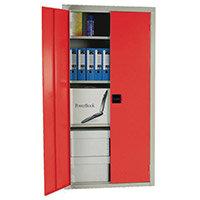 Cupboard Double Door C/W 3 Shelves Red Doors HxWxD mm: 1800x1200x460