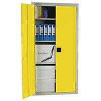 Cupboard Double Door C/W 3 Shelves Yellow Doors HxWxD mm: 1800x1200x460