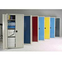 Cupboard Double Door C/W 3 Shelves Red Doors HxWxD mm: 1800x900x610